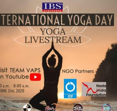 "Get your dose of self-care on this "" International Day of Yoga "" with IBS, Hyderabad and NGO partners Indian Development Foundation (IDF), NADA India Foundation through a live streaming yoga session. Streaming on: https://www.youtube.com/channel/UCLsKpJJBLDt40KWPXUgddwQ"